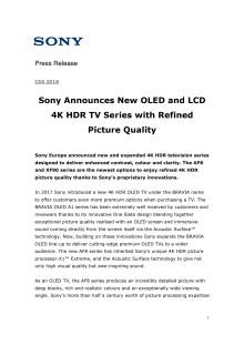 Sony viser frem årets nye OLED- og 4K HDR TV-er på CES