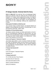 iF Design Awards: Dreimal Gold für Sony
