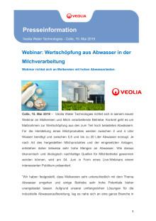Neues Webinar: Wertschöpfung aus Abwasser in der Milchverarbeitung