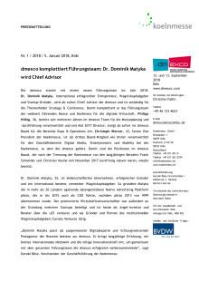 dmexco komplettiert Führungsteam: Dr. Dominik Matyka wird Chief Advisor