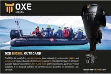 The OXE Diesel is the world's first high-performance diesel outboard