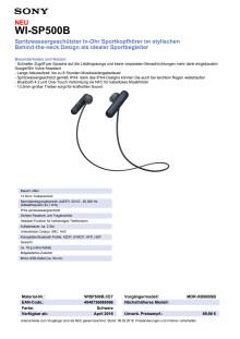Datenblatt Kopfhörer WI-SP500 von Sony