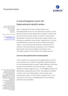 In Zukunft papierlos: Zurich will Papierverbrauch deutlich senken