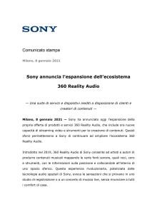 Sony annuncia l'espansione dell'ecosistema 360 Reality Audio