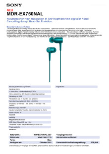 Datenblatt h.ear in von Sony_blau