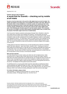 A world first for Scandic – checking out by mobile at all hotels