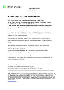 Umeå Energi får böta 55 000 kronor