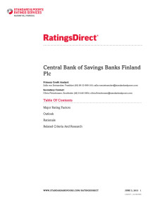 Central Bank of Finnish Savings Banks - Full Rating report in English