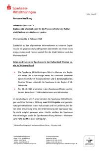 Jahresabschluss 2017: Ergänzende Informationen für die Pressevertreter der Kulturstadt Weimar und des Weimarer Landes