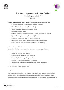 Juryens begrunnelse - Norges beste Ungdomsbedrift 2016