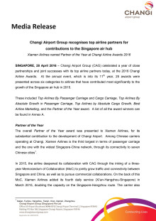 Changi Airport Group recognises top airline partners for contributions to the Singapore air hub