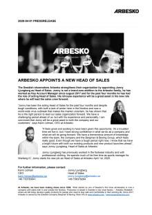 Arbesko_pressrelease_Arbesko appoints a new Head of Sales