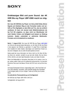 Erstklassiges Bild und purer Sound: der 4K HDR Blu-ray Player UBP-X500 macht es möglich