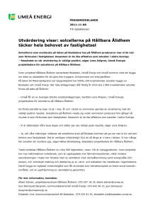 Utvärdering visar: solcellerna på Hållbara Ålidhem täcker hela behovet av fastighetsel
