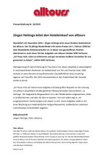 Jörgen Heitinga leitet den Hoteleinkauf von alltours
