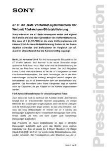 α7 II: Die erste Vollformat-Systemkamera der Welt mit Fünf-Achsen-Bildstabilisierung