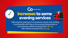 Increases to some evening services from 18 and 25 July