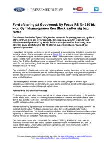 Ford afsløring på Goodwood: Ny Focus RS får 350 hk  – og Gymkhana-guruen Ken Block sætter sig bag rattet