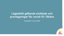 Lägesbild. Material på presskonferens Region Skåne presskonferens 17 juni