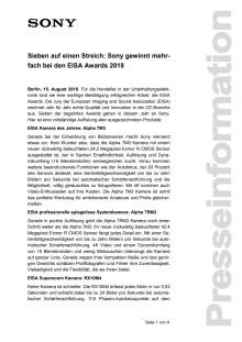 Sieben auf einen Streich: Sony gewinnt mehrfach bei den EISA Awards 2018