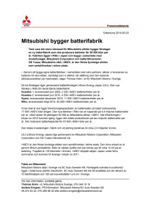 Mitsubishi bygger batterifabrik