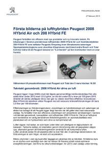 Första bilderna på lufthybriden Peugeot 2008 HYbrid Air och 208 HYbrid FE