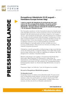 Europaforum Hässleholm 22-25 augusti – framtidens Europa formas idag!