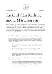 Rickard från Karlstad andra Mästaren i år!