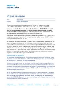 Norwegian seafood exports exceed NOK 71 billion in 2018