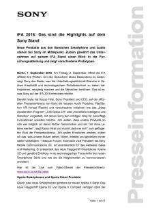 IFA 2016: Das sind die Highlights auf dem Sony Stand