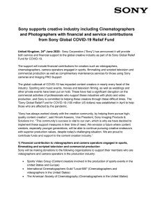 Sony supports creative industry including Cinematographers and Photographers with financial and service contributions from Sony Global COVID-19 Relief Fund