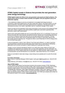 STING Capital invests in Solarus that provides the next generation solar energy technology