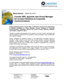 Cavotec MSL appoints new Group Manager for Investor Relations & Corporate Communications