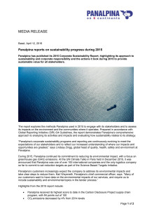 Panalpina reports on sustainability progress during 2015