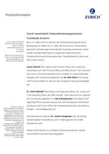 Zurich vereinfacht Unternehmensorganisation: Vorstände ernannt