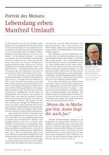 MANZ-Porträt des Monats: Lebenslang erben - Manfred Umlauft