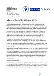 """Deutscher Kinderschutzbund Ortsverband Rösrath: Projekt """"Fahrradwerkstatt Albert-Einstein-Schule"""""""