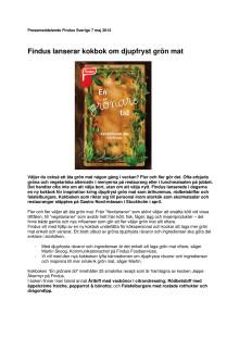 Findus lanserar kokbok om fryst grön mat