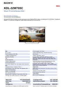 KDL-32W705C von Sony