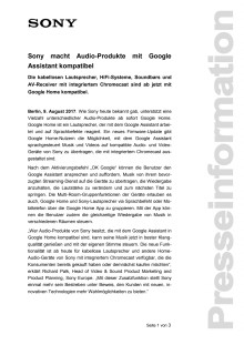 Sony macht Audio-Produkte mit Google  Assistant kompatibel