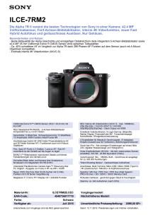 Produktdatenblatt A7R II