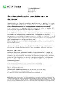 Umeå Energis algprojekt uppmärksammas av regeringen