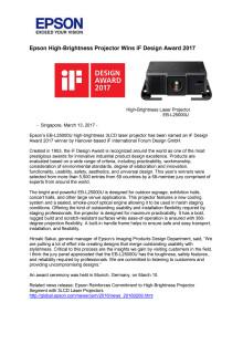 Epson High-Brightness Projector Wins iF Design Award 2017