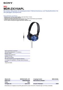 Datenblatt_MDR-ZX310APL von Sony