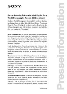 Sechs deutsche Fotografen sind für die Sony World Photography Awards 2019 nominiert