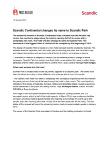 Scandic Continental changes its name to Scandic Park