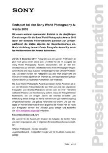 Endspurt bei den Sony World Photography Awards 2018