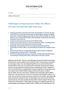 Volkswagen Group measures reduce the effects of Covid-19 in the first half of the year