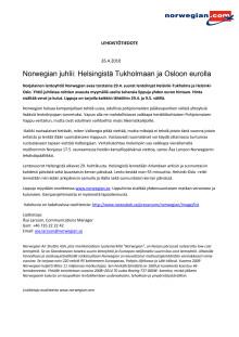 Norwegian juhlii: Helsingistä Tukholmaan ja Osloon eurolla