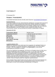 Faktenblatt: Panalpina – Firmenüberblick